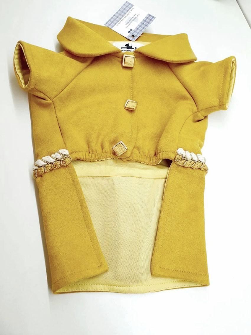 Casaco de Suede Mostarda com Detalhes Exclusivos