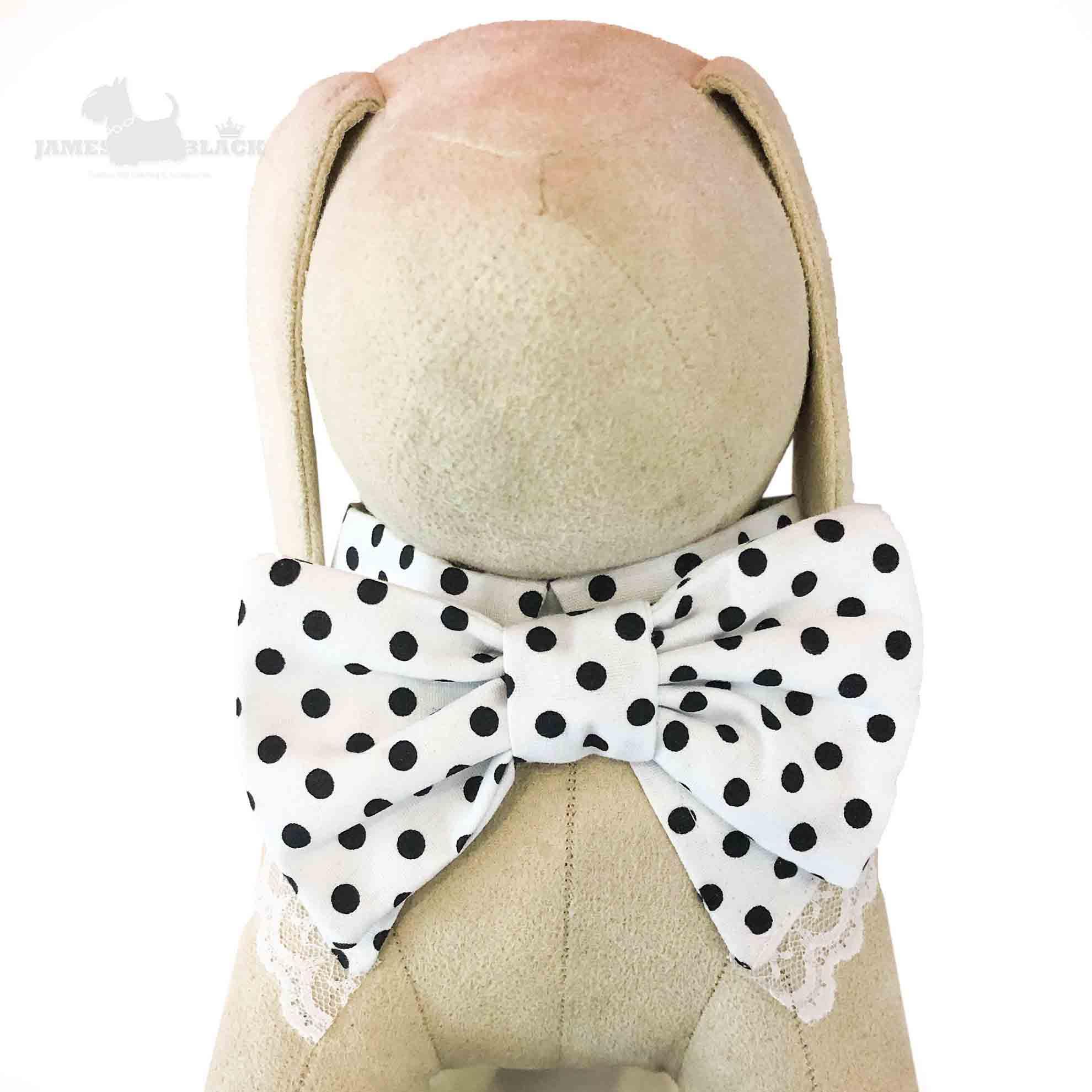 Colarinho com Gravata removível de poá preto e renda branca