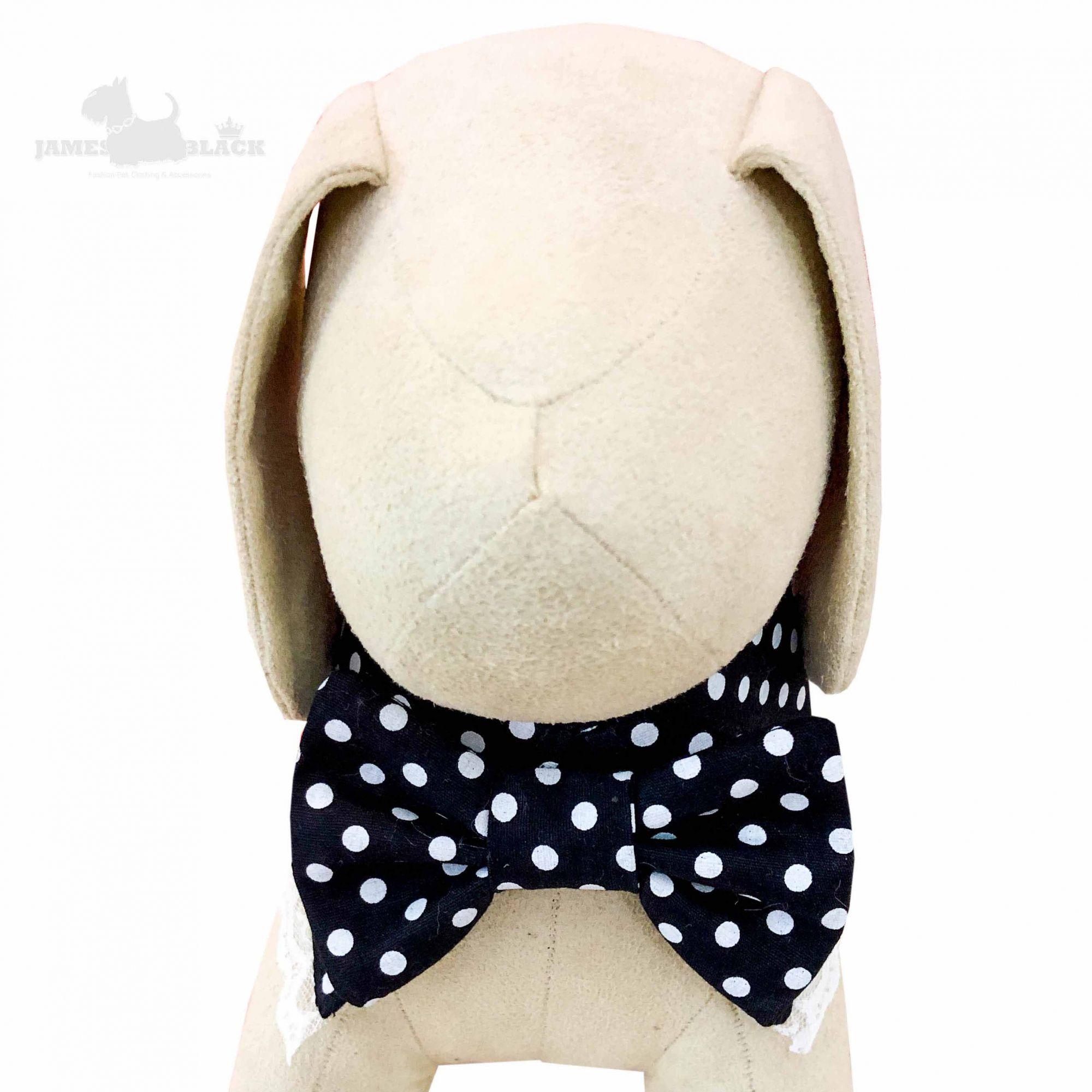 Colarinho com Gravata removível Preta com poá branco e renda branca