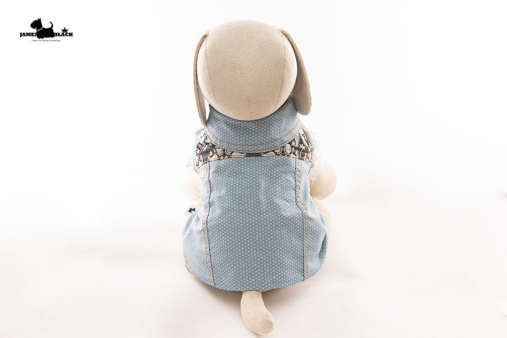 Jaqueta Jeans Pet com detalhes de pesponto amarelo com tecido fundo Praisley amarelo e preto