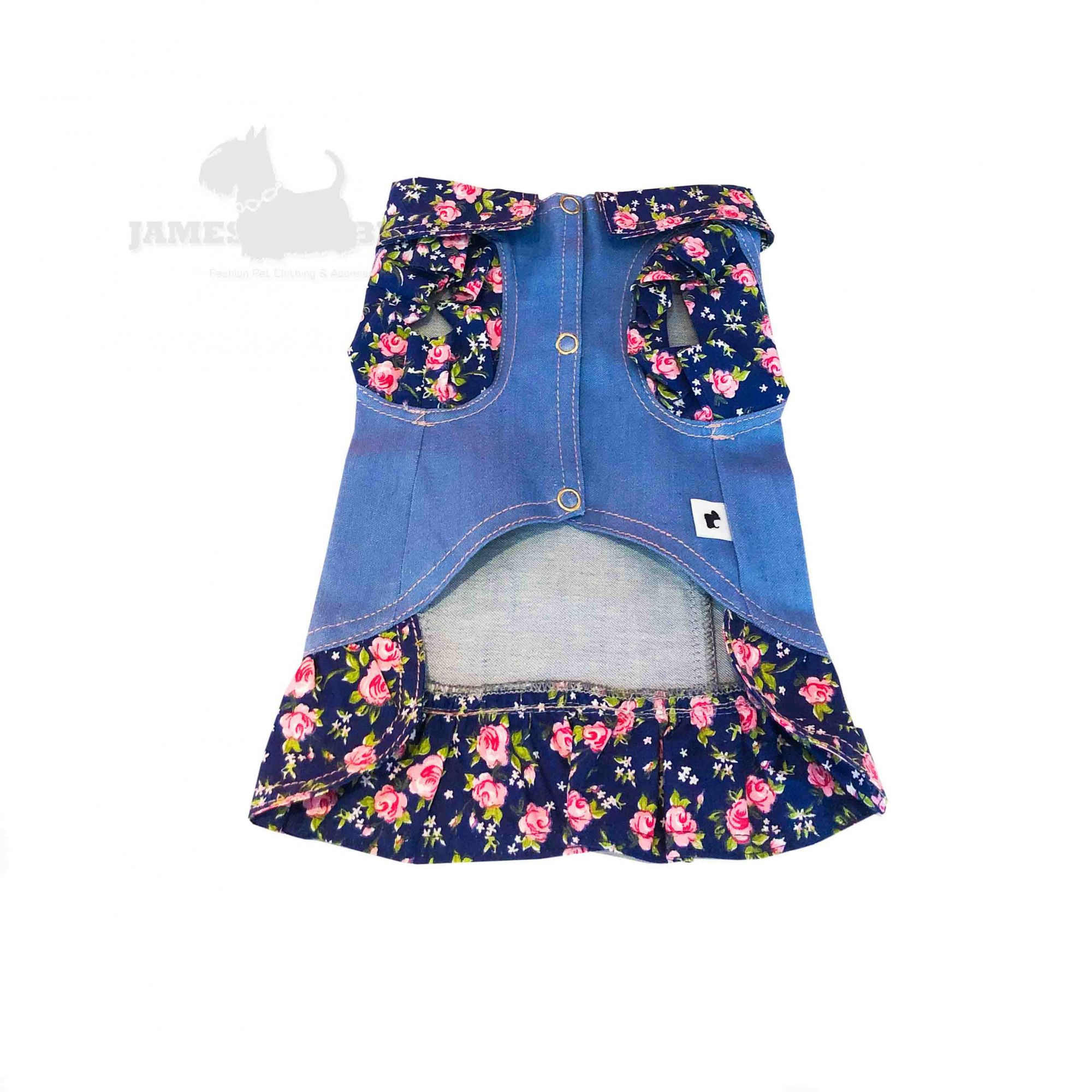 Jaqueta Jeans Pet com detalhes em tecido azul floral