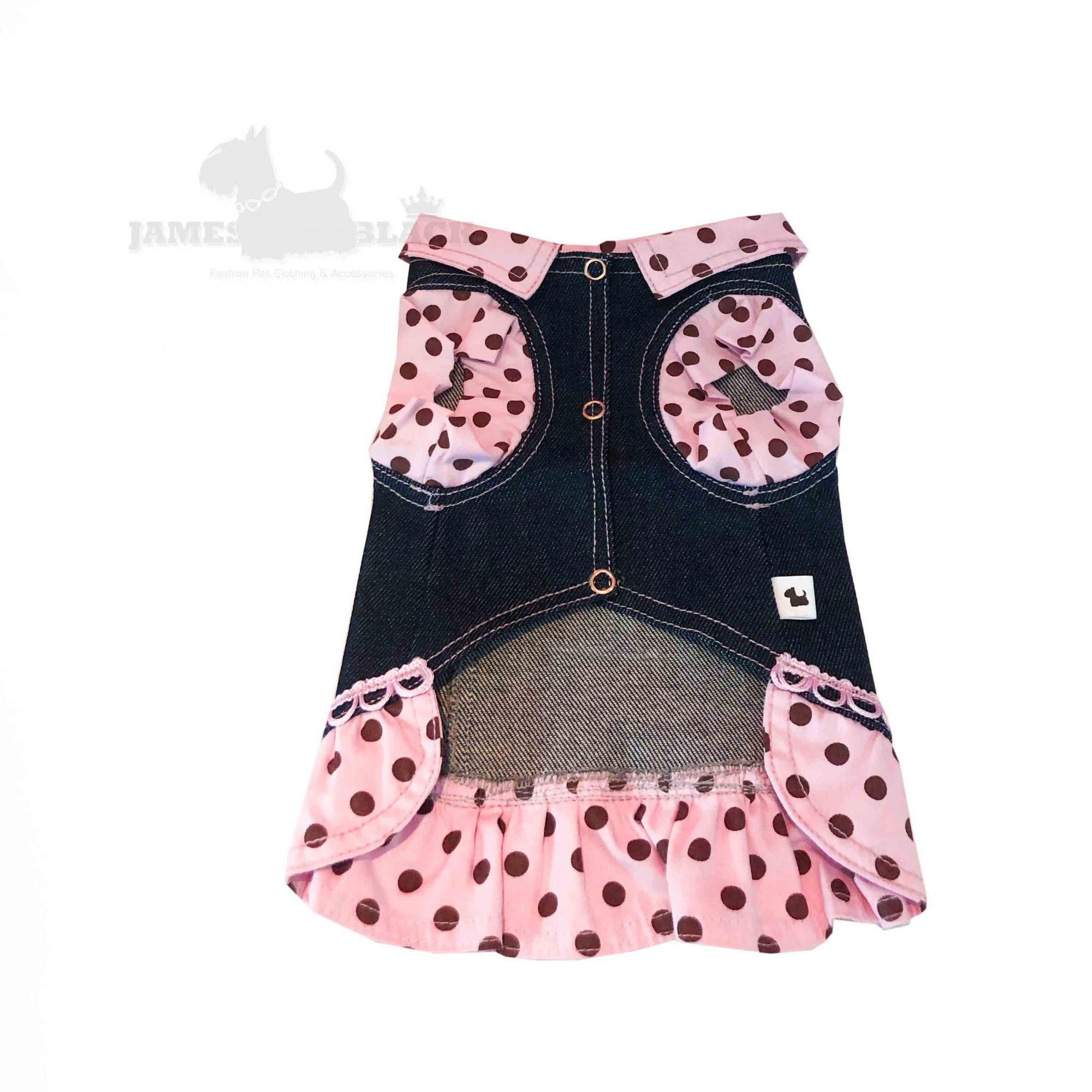 Jaqueta Jeans Pet com detalhes em tecido rosa de bolinhas
