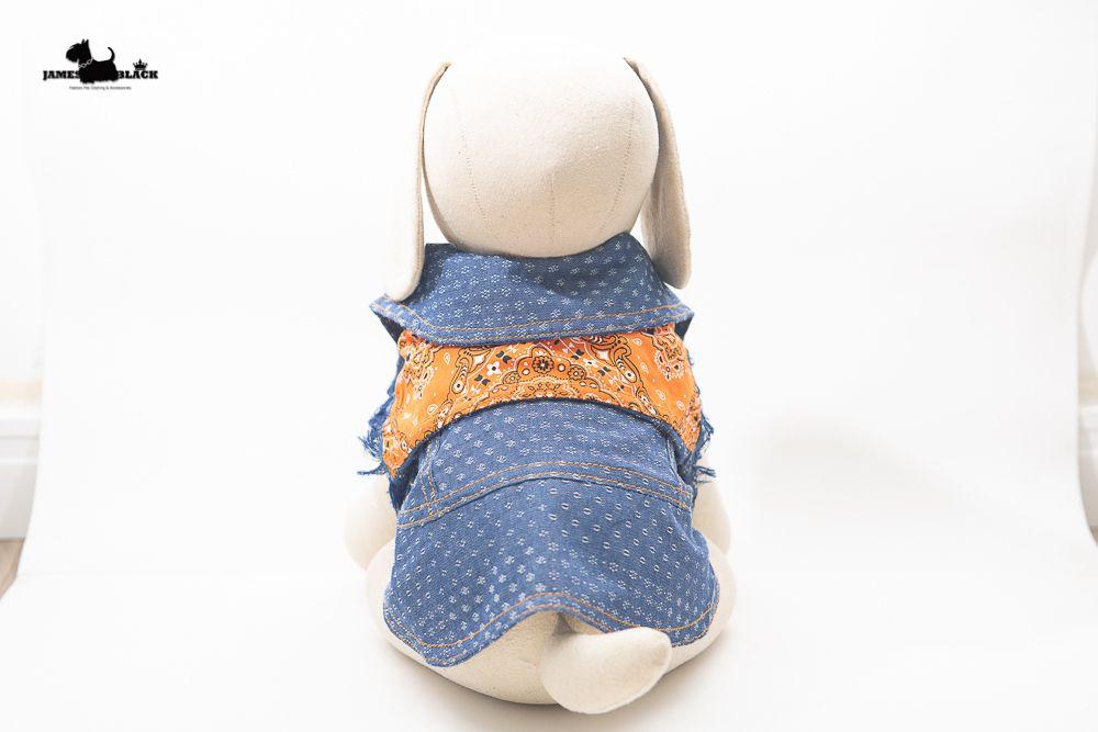 Jaqueta Jeans Pet com detalhes estampados Paisley laranja