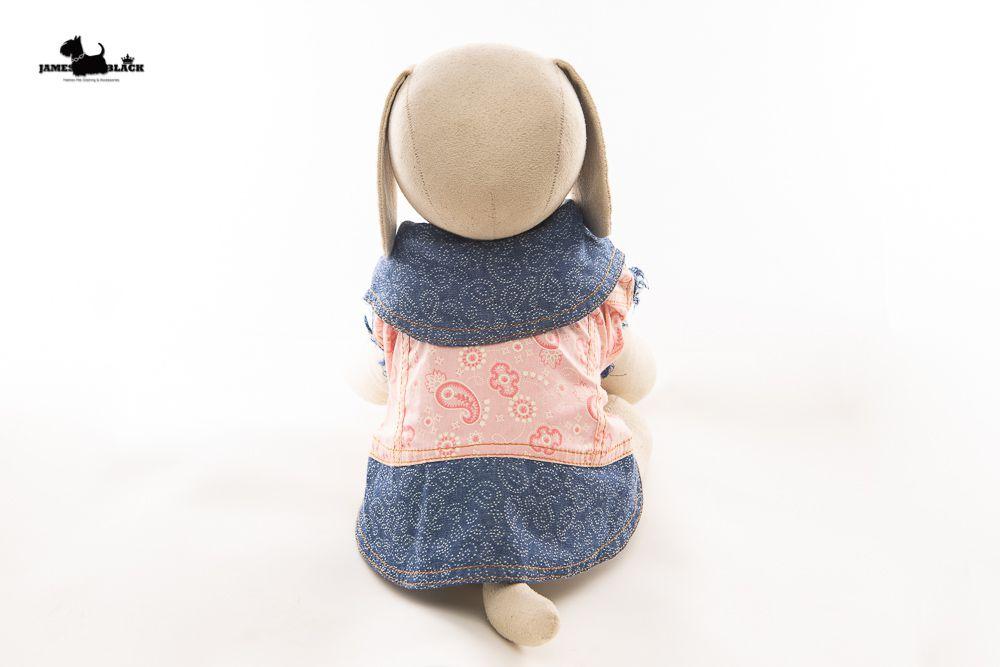 Jaqueta Jeans Pet com tecido Rosa desenho chasmere