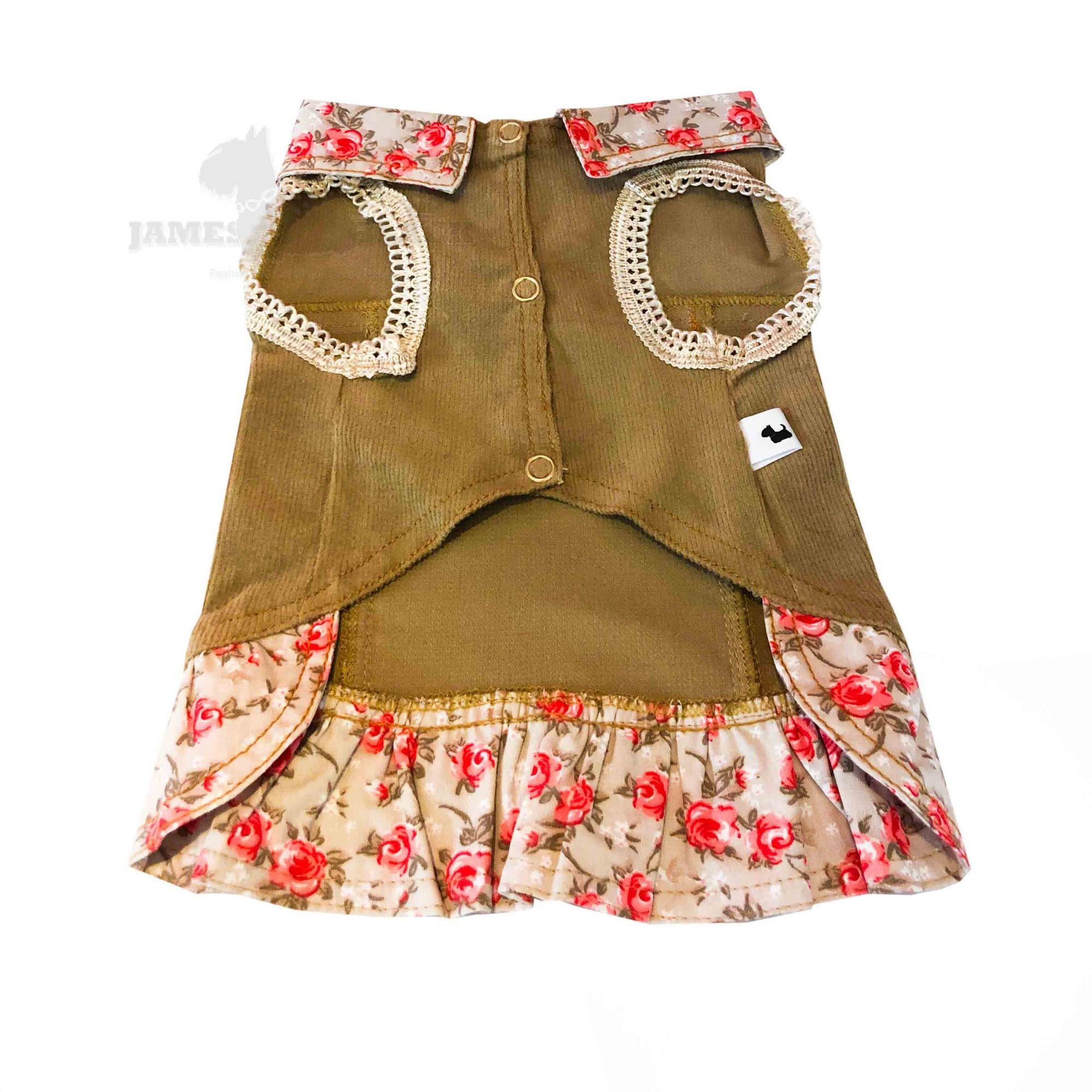 Jaqueta Pet em Veludo com viés importado e tecido floral