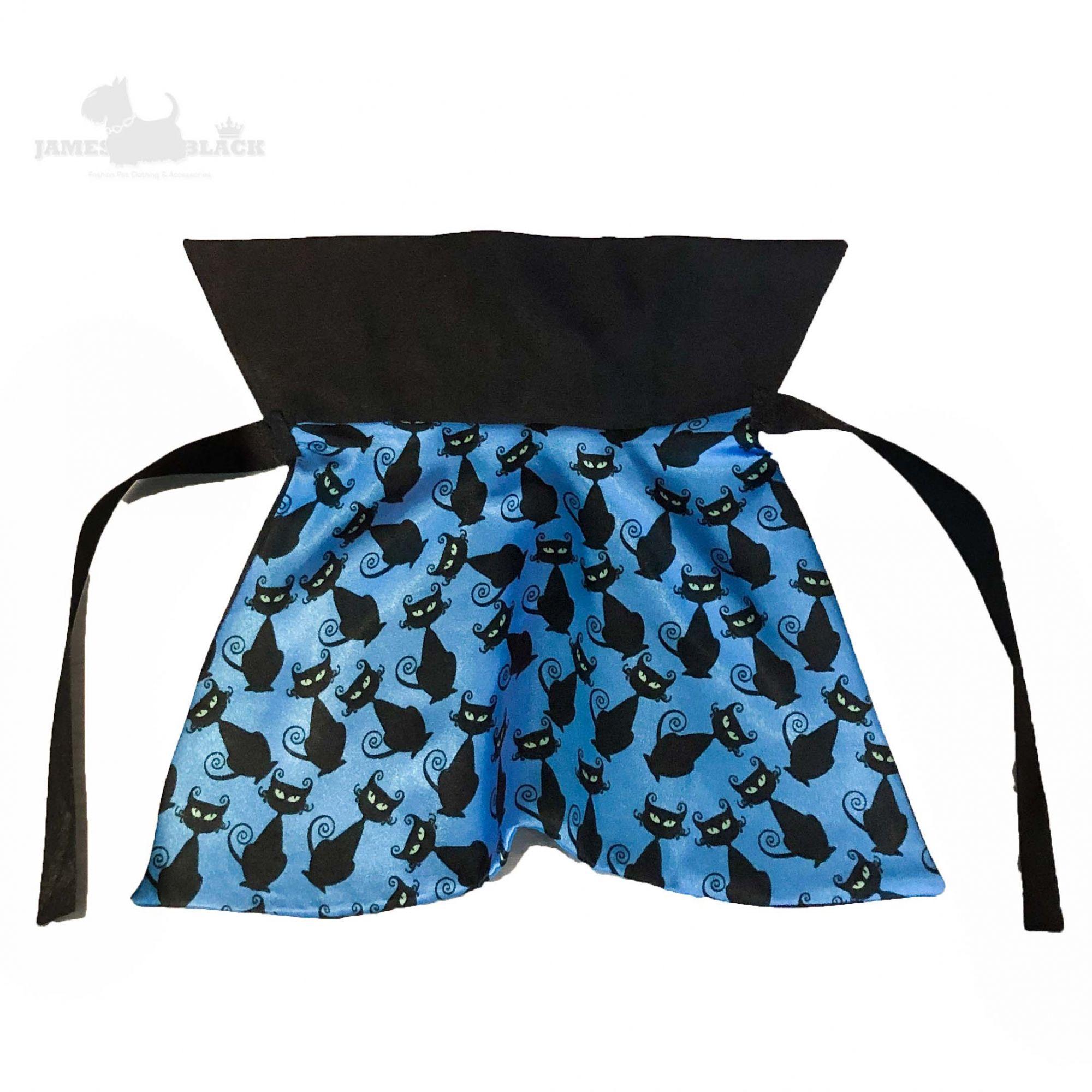 Mini Capa Pet Cetim azul com gatinhos