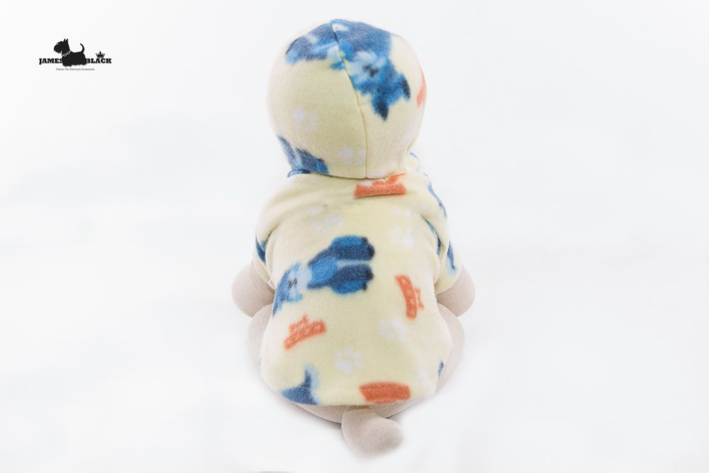 Moletom Amarelo Claro com Cachorrinhos Azuis com Capuz e Botões de Pressão