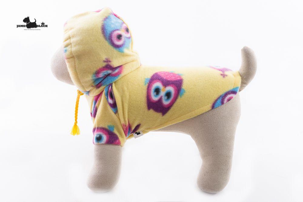 Moletom Pet Amarelo com Corujinhas com Capuz e Botões de pressão