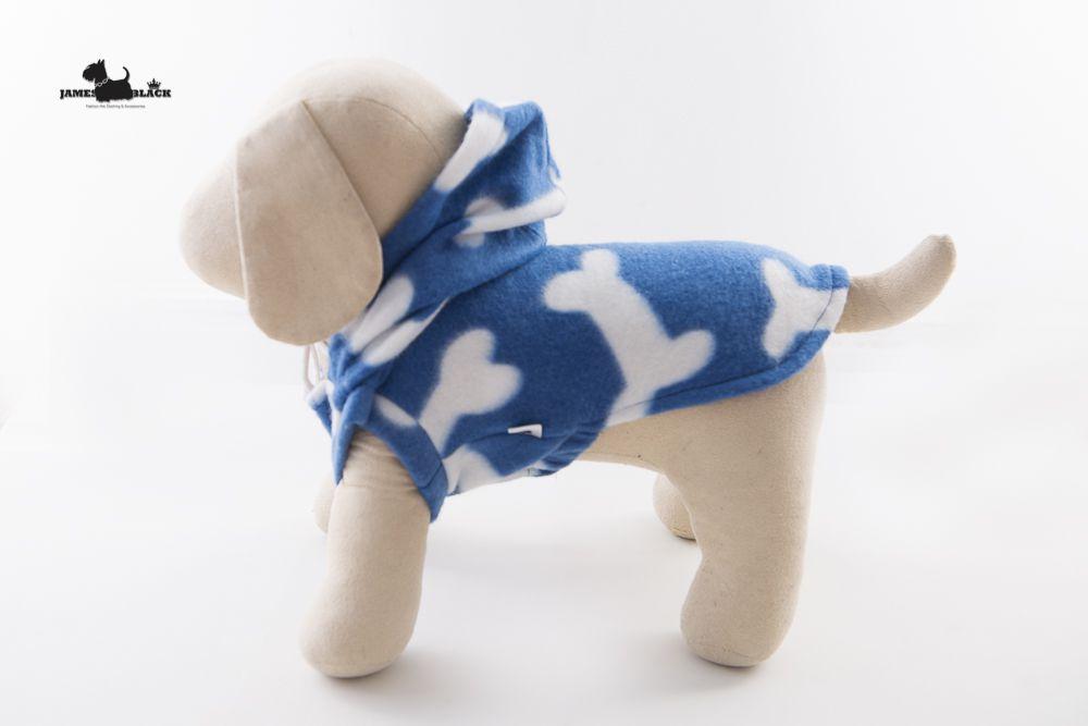 Moletom Pet  Azul Bic Com Ossinhos Brancos com Capuz Sem Mangas