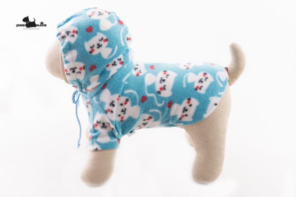Moletom Pet Soft Azul Claro com Gatinhos Brancos
