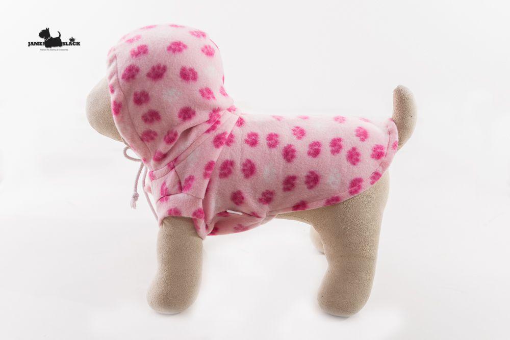Moletom Soft Rosa com Patinhas Pink com Capuz Sem Manga