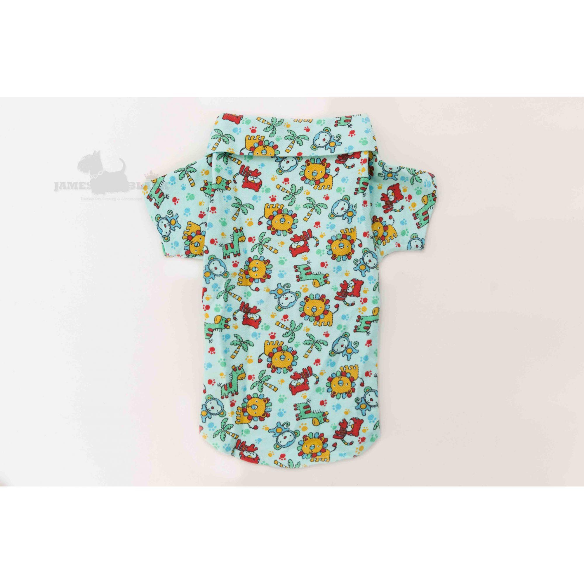 Pijama Pet Flanelado Verde com Estampa bichos