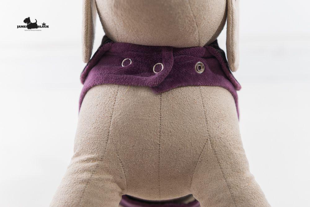 Roupa Xadrez Dupla Face Xadrez Roxo com lado lilás liso com botões de pressão no pescoço e barriga