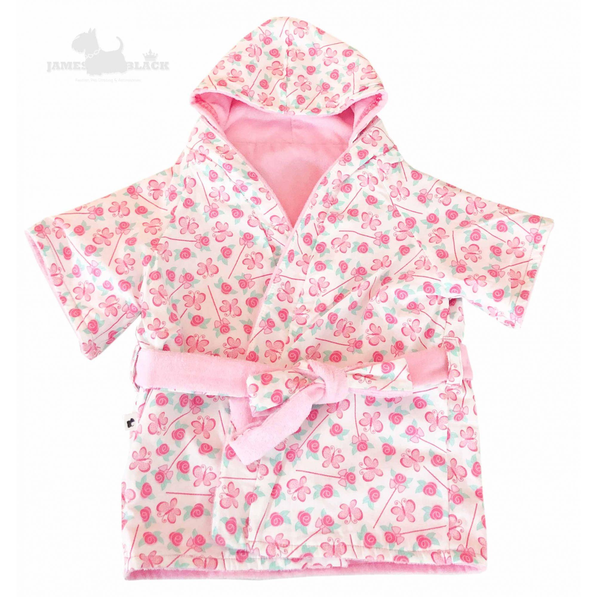 Roupão Dupla Face Premium Pink  Borboletas
