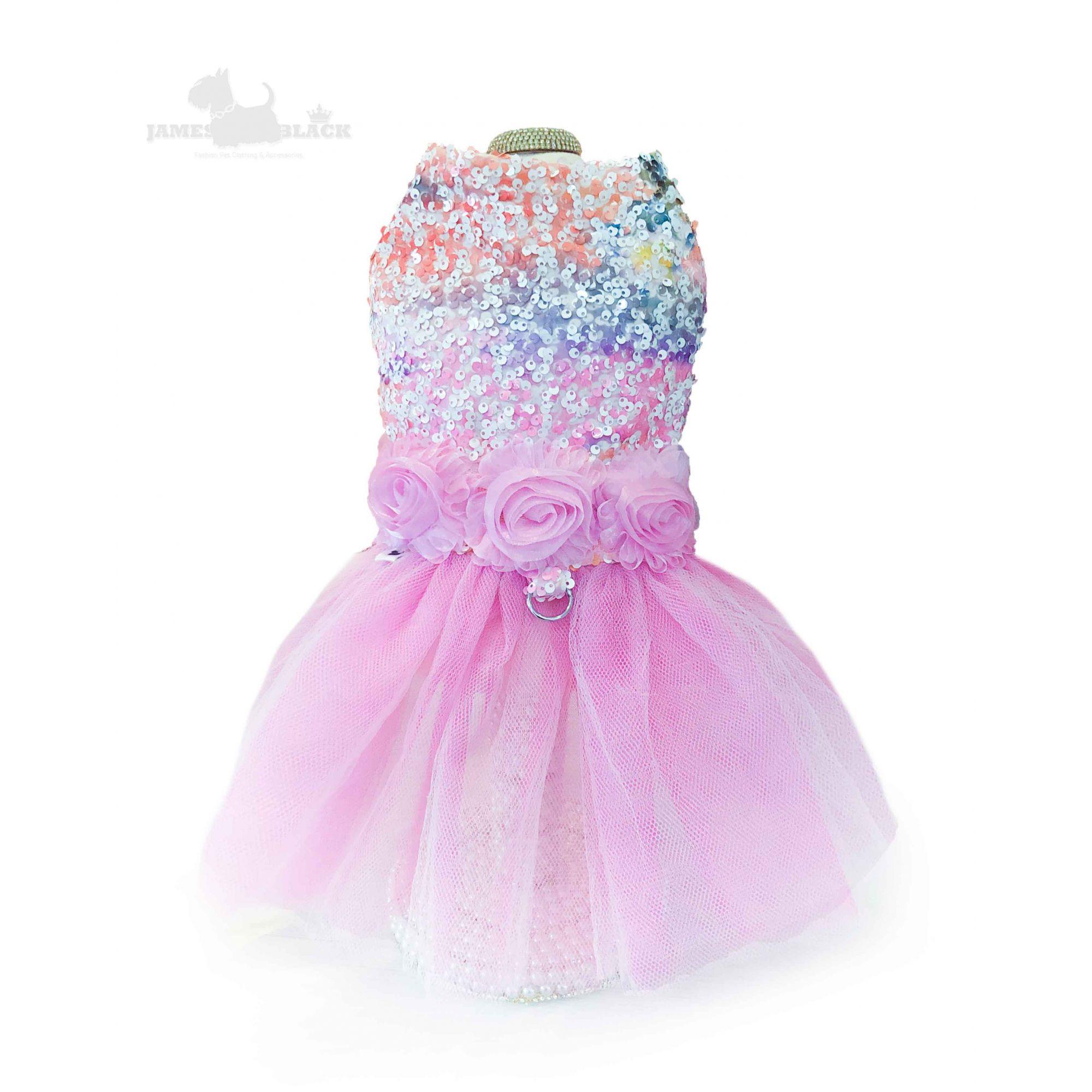 Vestido Luxo Colorido com tule e paetês