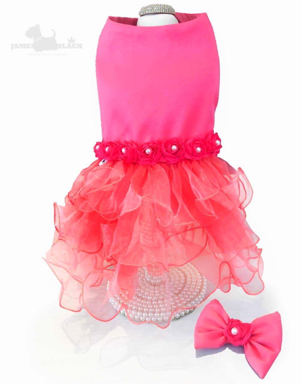 Vestido Luxo Rosa com saia Coral