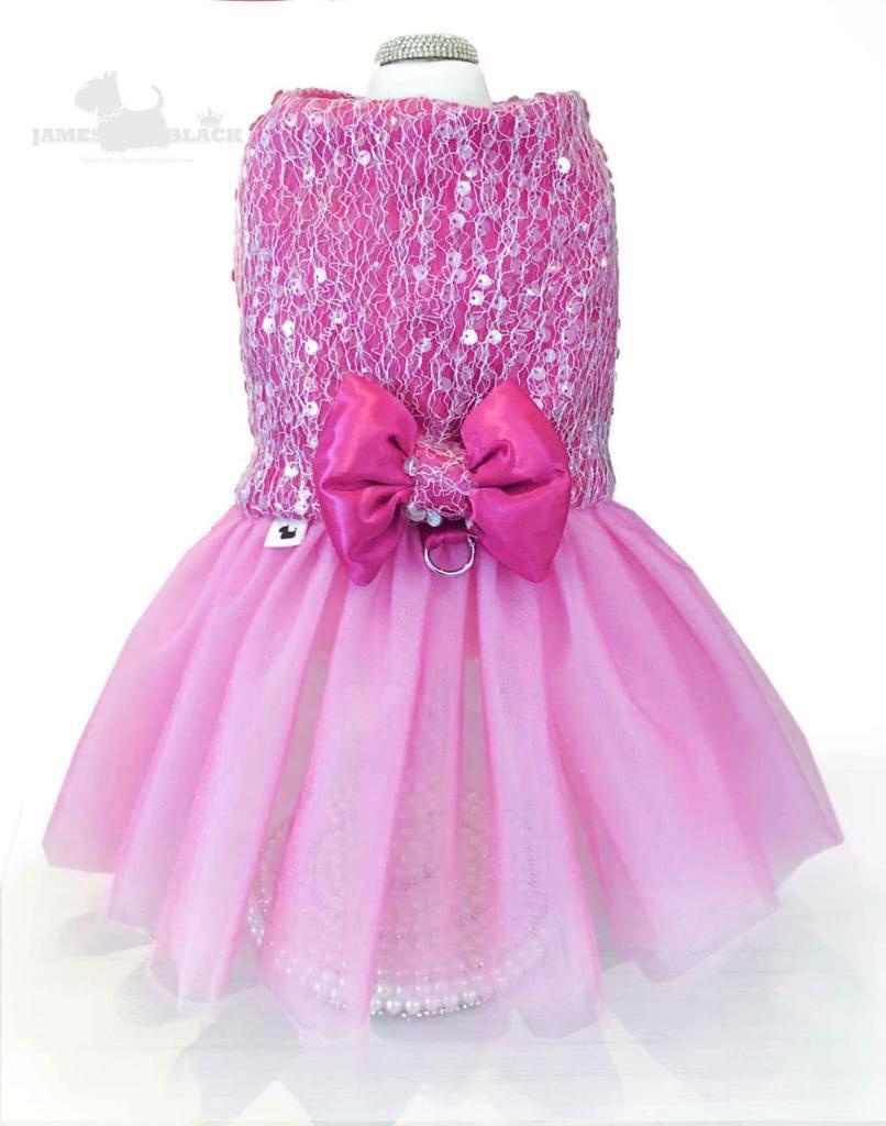 Vestido Luxo Rosa com tule e paetês