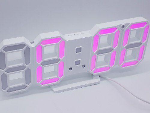 Relogio Led Digital Mesa Parede Multifunção Pink  - Presente Presente