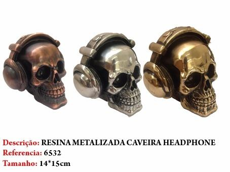 Mini Cranio Caveira Resina fone headphone Metalizada  - Presente Presente