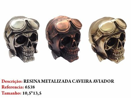 Mini Cranio Caveira Resina Capacete Aviador Metalizada  - Presente Presente