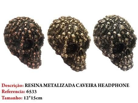 Mini Cranio Caveira Resina Metalizada Luxo Headphone  - Presente Presente