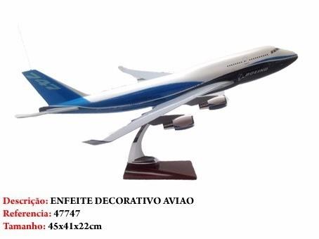 Airbus 747 45x41cm Avião Grande Metal Coleção  - Presente Presente