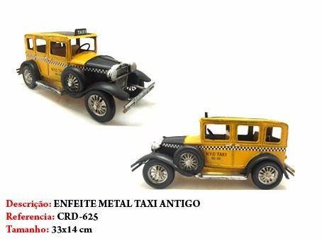 Carrinho Metal Taxi Amarelo Calhambeque Vintage  - Presente Presente