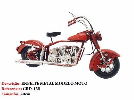 Moto Metal Chopper Vermelha Decoração Vintage  - Presente Presente