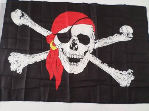 5 Peças Bandeira Pirata Jolly Roger 90x60cm  - Presente Presente