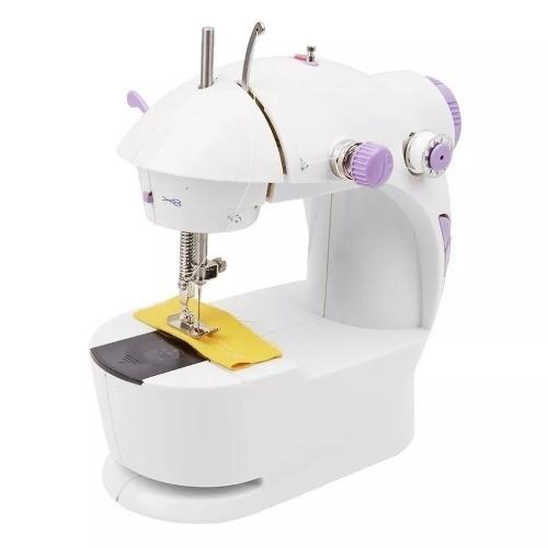 Mini Máquina Costura Portátil Pilhas Bivolt Luz Pedal Bobina  - Presente Presente