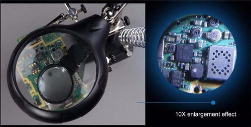 Lupa C/ Lente De Aumento P/ Bancada Eletrônica Mesa Zoom 10x  - Presente Presente