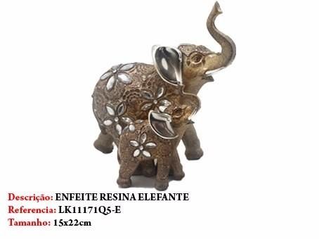 Enfeite Resina Elefante Casal 22cm Decoração 71q5-e Flores  - Presente Presente