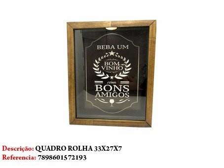 Quadro Decorativo Porta Rolha Vinhos Amigos 33x27cm Ref 2193  - Presente Presente