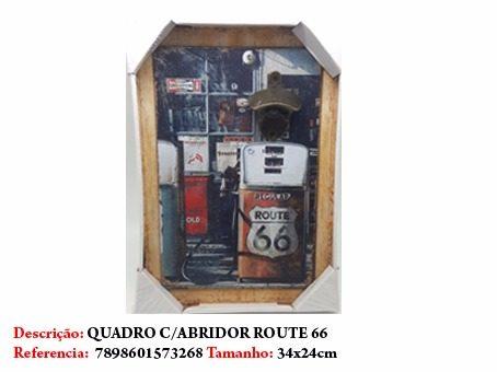Quadro Decorativo Abridor Route 66 Placa 34x24cm Enfeite  - Presente Presente