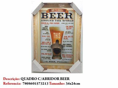 Quadro Decorativo Abridor Tema Cerveja Placa 34x24cm Enfeite  - Presente Presente