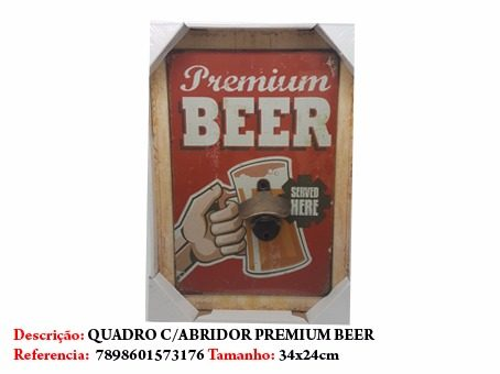 Quadro Com Abridor Copo Cerveja Placa 34x24cm Beer  - Presente Presente
