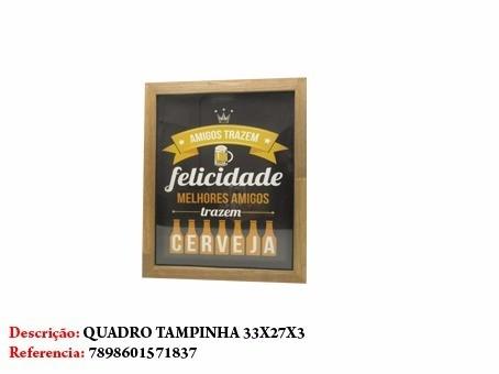 Quadro Decorativo Porta Tampinha Cerveja 33x27cm  - Presente Presente