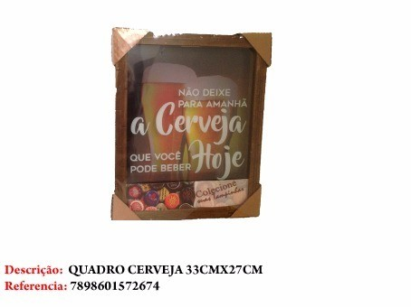 Enfeite Quadro Decorativo Tema Cerveja 33x27cm  - Presente Presente