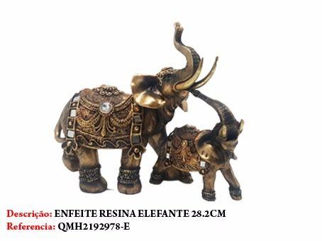 Enfeite Resina Casal Elefante 28cm Decoração 51q5-e  - Presente Presente
