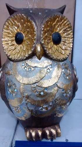 Coruja Gold 22cm Resina Enfeite Decoração Owl  - Presente Presente