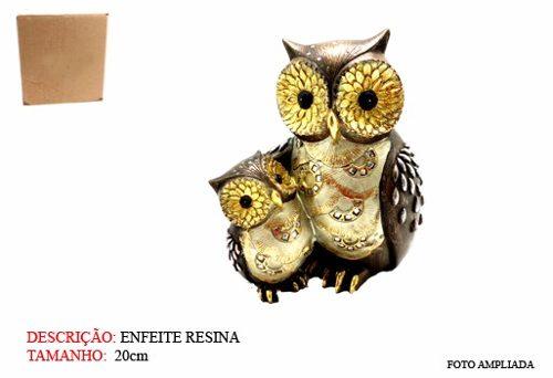 Coruja Casal Gold Resina Enfeite Decoração Owl  - Presente Presente