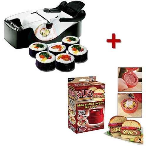 Kit Máquina Enrolar Sushi Roll + Maquina Montar Hamburguer  - Presente Presente