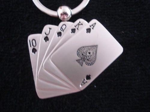 30 Peças Chaveiro Poker Royal Straigth Flush  - Presente Presente