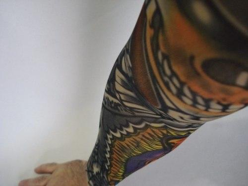 Manga Tatuagem Caveira Tatuada Spandex Mod 072  - Presente Presente
