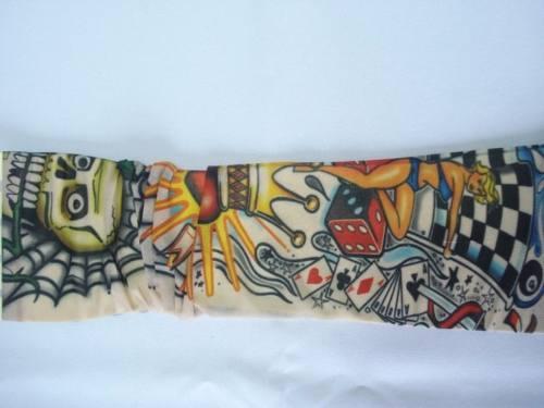 Manga Tatuagem Caveira Coração Tatuada Spandex 075  - Presente Presente