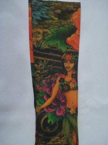 Manga Tatuagem Red Flower Tatuada Spandex 077  - Presente Presente
