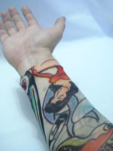 Manga Tatuagem Fenix Tatuada Spandex 078  - Presente Presente