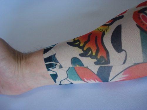 Manga Tatuada Caveira Skull Tatuagem Spandex 051  - Presente Presente
