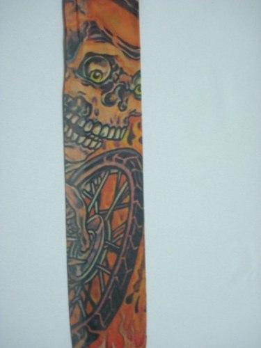 Manga Tatuagem Caveira De Moto Tatoo Spandex Mod 067  - Presente Presente