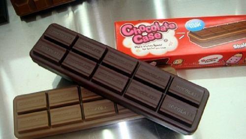 Estojo Barra De Chocolate Ao Leite E Amargo Material Escolar  - PRESENTEPRESENTE